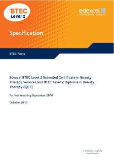 BTEC Firsts in Beauty Therapy specification