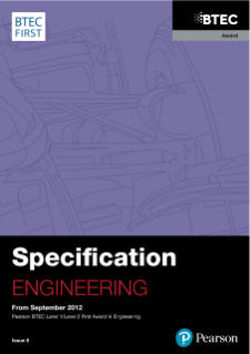 BTEC First Award in Engineering specification