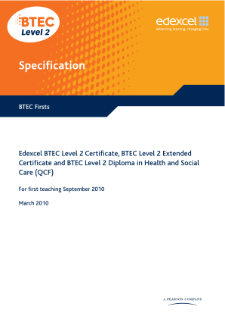 BTEC Firsts in Health and Social Care specification