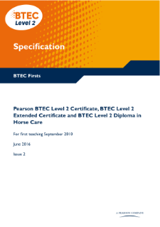 BTEC Firsts in Horse Care specification