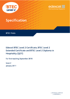 BTEC Firsts in Hospitality specification