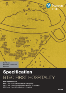 BTEC First Certificate in Hospitality specification