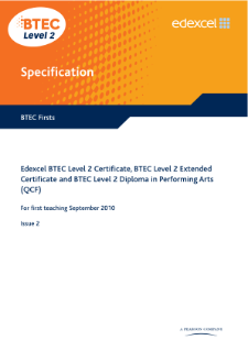 BTEC Firsts in Performing Arts specification