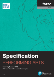 BTEC First Award in Performing Arts specification
