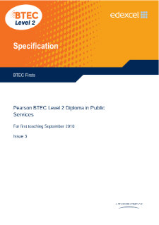 BTEC Firsts in Public Services specification