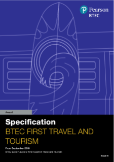 BTEC First Award (2018) in Travel and Tourism specification