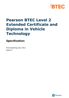 BTEC Firsts in Vehicle Technology specification