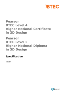 BTEC Higher National Diplomas in 3D Design specification