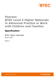 BTEC Higher National Advanced Practice in Work with Children and Families specification