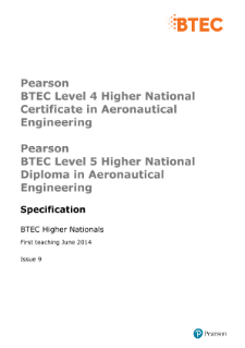 BTEC Higher National Diplomas in Aeronautical Engineering specification