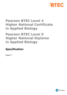 BTEC Higher National Diplomas in Applied Biology specification