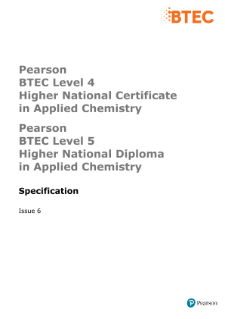 BTEC Higher National Diplomas in Applied Chemistry specification