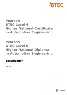 BTEC Higher National Diplomas in Automotive Engineering specification