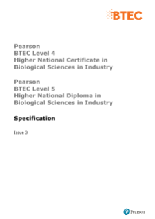 BTEC Higher National Level 4 Certificate in Biological Sciences for Industry specification