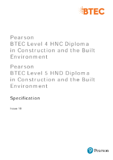 BTEC Higher Nationals Construction and the Built Environment (2010