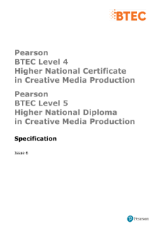 BTEC Higher National Diplomas in Creative Media Production specification