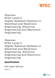 BTEC Higher National Certificate in Electrical and Electronic Engineering specification