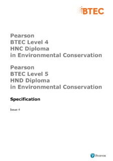 BTEC Higher National Diplomas in Environmental Conservation specification