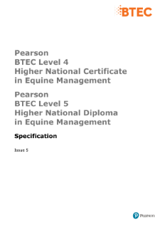 BTEC Higher National Diplomas in Equine Management specification