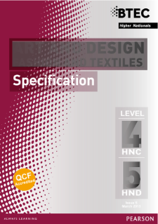 BTEC Higher National Diplomas in Fashion and Textiles specification