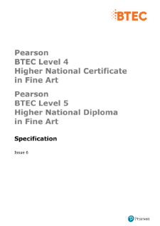 BTEC Higher National Diplomas in Fine Art specification