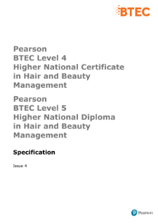 BTEC Higher National Diplomas in Hair and Beauty Management specification