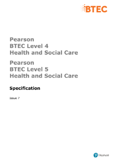 BTEC Higher National Diplomas in Health and Social Care specification