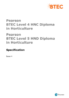 BTEC Higher National Diplomas in Horticulture specification