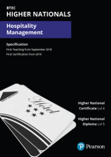 Pearson BTEC Higher National qualifications in Hospitality Management