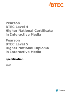 BTEC Higher National Diplomas in Interactive Media specification