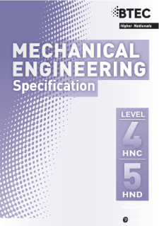 BTEC Higher National Diplomas in Mechanical Engineering specification