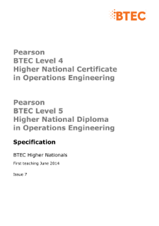 BTEC Higher National Diplomas in Operations Engineering specification