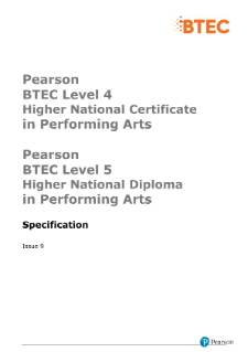 BTEC Higher National Diplomas in Performing Arts specification