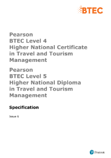 BTEC Higher National Diplomas in Travel and Tourism Management specification