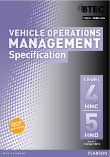 BTEC Higher National Diploma Vehicle Operations Management specification