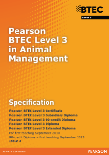 BTEC Level 3 Animal Management specification