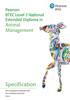 BTEC National in Animal Management Extended Diploma specification