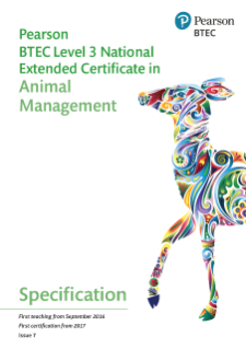 BTEC National in Animal Management Extended Certificate specification
