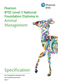 BTEC National in Animal Management Foundation Diploma specification