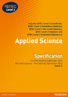 btec level 3 applied science coursework Btecs for applied sciences in uk, find the right btec training with hotcourses to step up your career  14 btec applied sciences courses  in science the level 3.