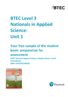 BTEC Nationals | Applied Science (2016) | Pearson qualifications