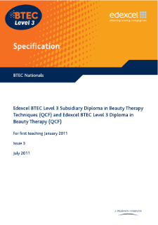 BTEC Level 3 Beauty Therapy specification