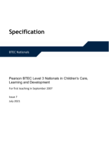 BTEC Level 3 Children's Care, Learning and Development specification