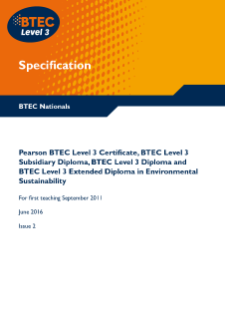 BTEC Level 3 Environmental Sustainability specification