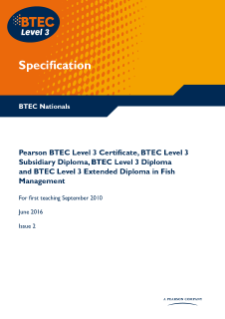BTEC Level 3 Fish Management specification