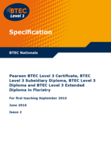 BTEC Level 3 Floristry specification