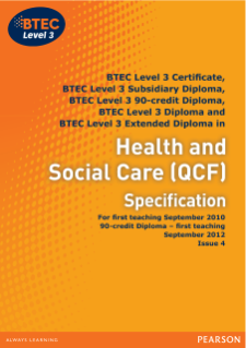 BTEC Level 3 Health and Social Care specification