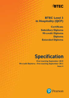 BTEC Level 3 Hospitality specification