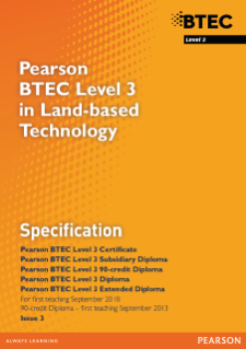 BTEC Level 3 Land-based Technology specification