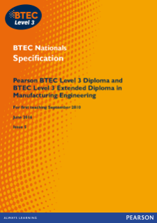 BTEC Level 3 Manufacturing Engineering specification